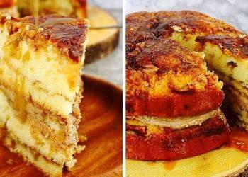 Divin gâteau moelleux pommes-cannelle au caramel