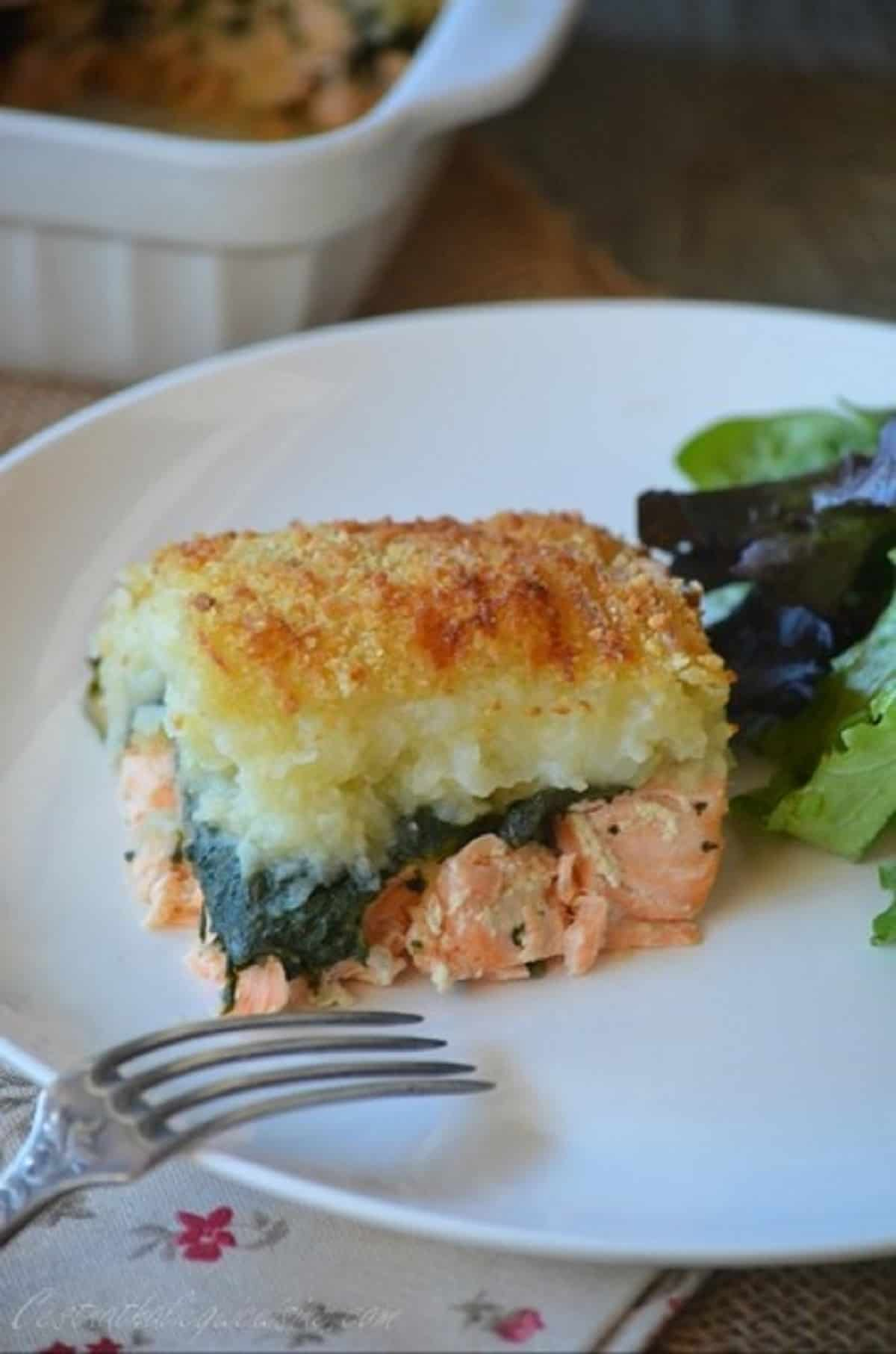 Parmentier de saumon aux épinards