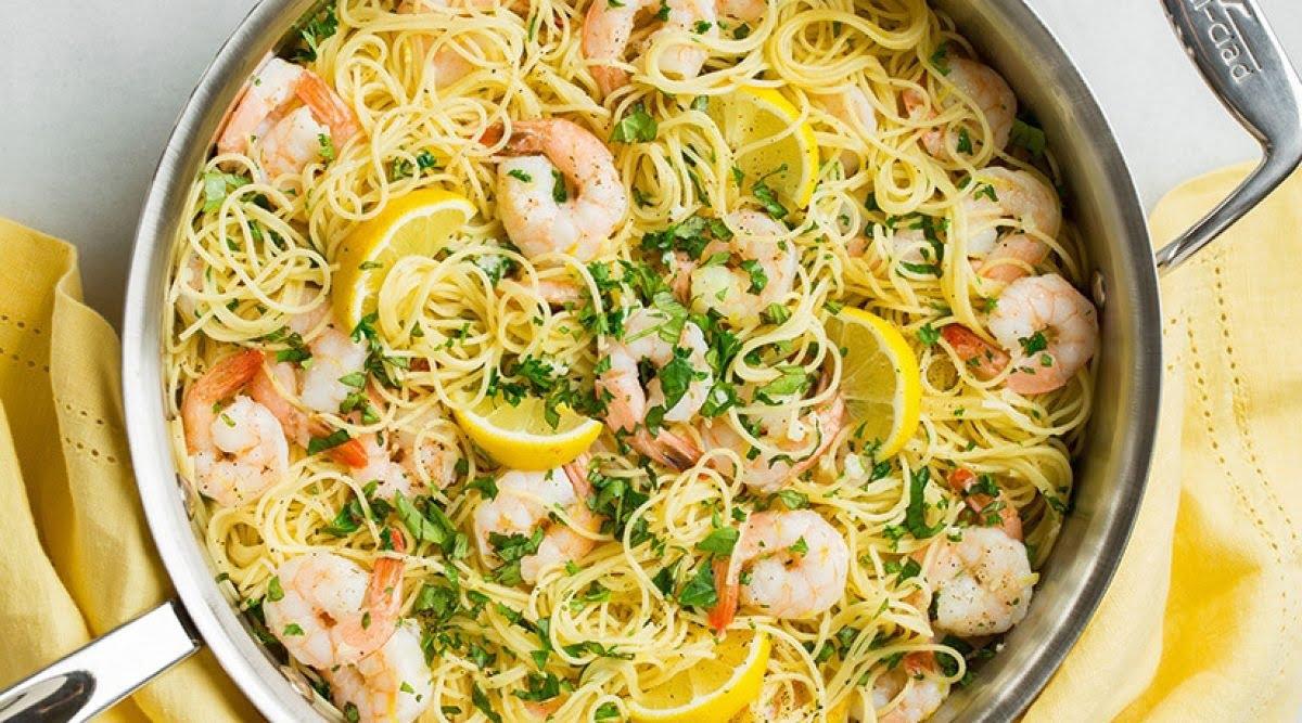 Recette : Spaghettis à l'ail, citron et crevette, bonnes à vous en lécher les doigts