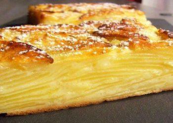 Recette facile et délicieuse gâteau invisible aux pommes sans sucres et sans lait