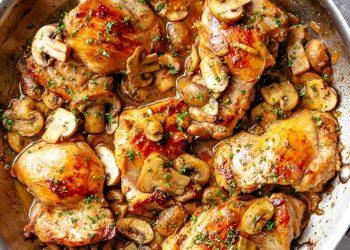 Recette minceur Délicieuses cuisses de poulet à l'ail et aux champignons