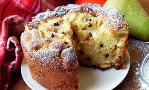 Gâteau aux poires et pépites de chocolat
