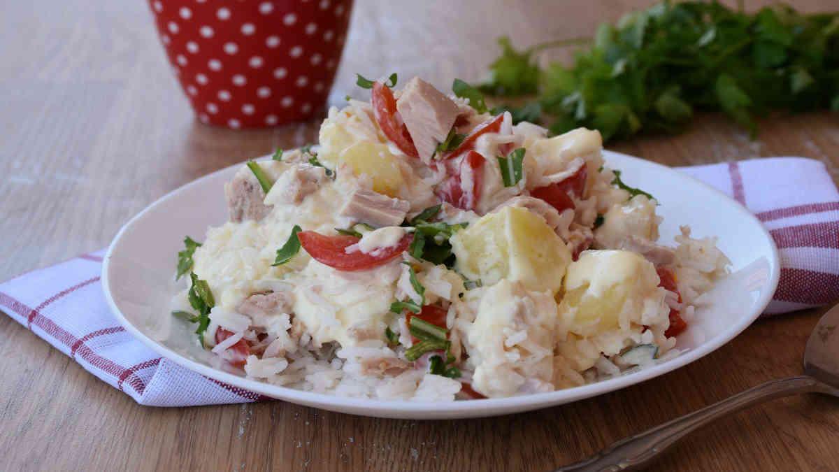 Salade de riz au thon et pommes de terre