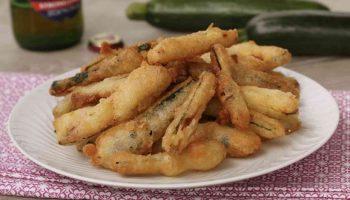 Courgettes frites avec pâte sans oeuf
