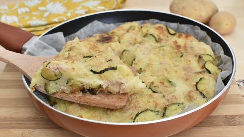 Flan de courgettes au pommes de terre à la poêle