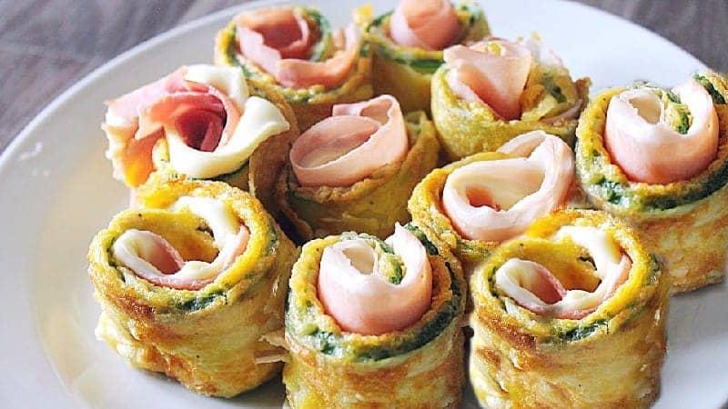 Rouleaux de courgettes farcis au jambon et fromage