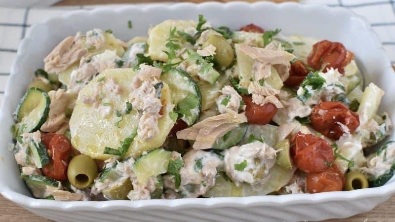 Salade de thon aux courgettes et pommes de terre