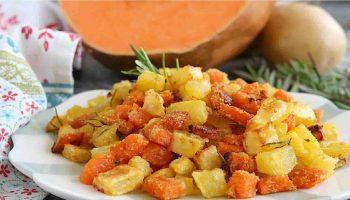 Potiron et pommes de terre au four