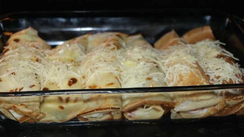 Crêpes jambon fromage et champignons