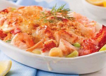 Gratin de fruits de mer aux poisson blanc scampis et crevettes